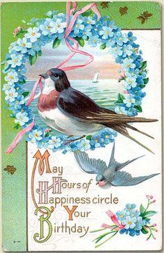 Victorian bluebird postcard