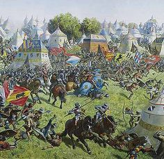 With the Burgundian Wars you had a medieval army of the Duke of Burgundy fighting an early modern army of Swiss pikemen suppliment end, towards the end, with medieval Lorrainer heavy cavalry.   The triumph of the Swiss proved the superiority of infantry on the embryonic early modern battlefield and allowed the continued evolution of infantry and warfare.