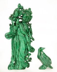 Two CArved Malachite Figures. : Lot 1703251