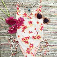 F L O R A L • V I B E S   #bluelifeswim multi-strap one-piece suit ••• SHOP at swimwearworld.com