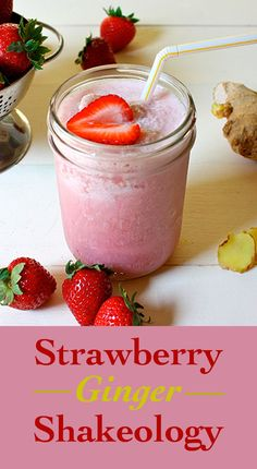 This recipe puts a twist on classic Strawberry Shakeology by adding in a delightful dash of ginger. #ThirstyThursday #shakeology #strawberryshakeology #shake #recipes #shakeologyrecipes #strawberries