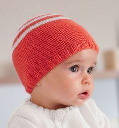 Modèle bonnet rayé layette