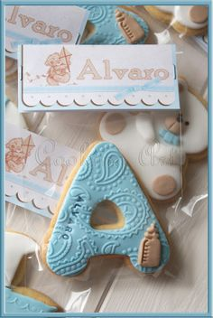 Baby Boy Cookies, Baby Shower Cookies, Cute Cookies, Cupcake Cookies, Sugar Cookies, Cupcakes Fondant, Fondant Baby, Idee Baby Shower, Baby Boy Shower