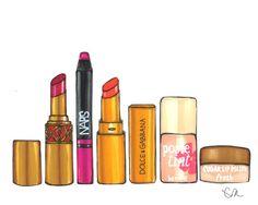 Favorite Lipsticks - 8x10 Illustration Art Print by Eva Rose via Etsy