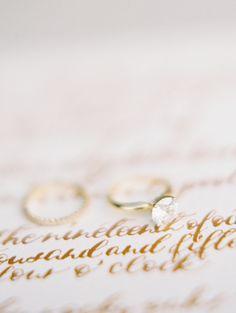 Solitaire diamond gold band engagement ring: http://www.stylemepretty.com/2015/12/29/dreamy-malibu-fall-estate-wedding/ | Photography: Kurt Boomer - http://kurtboomerphoto.com/