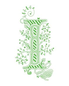 Hand drawn monogrammed print, 8x10, the Letter I, in the color green