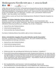 Mediengesetz Novelle AUT: Verschäfte Informationspflicht für Websites