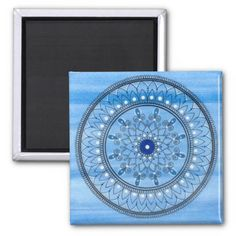 Hand Drawn Pretty Blue And White Mandala Flower Square Magnet Paint Background, Photo Magnets, Flower Mandala, Hand Drawn, How To Draw Hands, Outdoor Blanket, Dots, Monogram, Blue And White