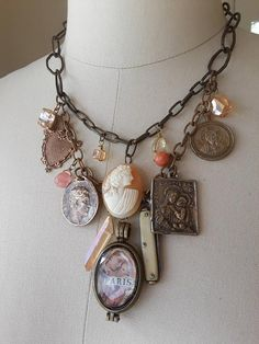 Vintage repurposed assemblage charm necklace boho jewelry french cameo locket religious antique medal Atelier Paris on Etsy bone knife heart Vintage Jewelry Crafts, Recycled Jewelry, Jewelry Art, Fine Jewelry, Fashion Jewelry, Jewelry Design, Unique Jewelry, Silver Jewelry, Jewelry Holder