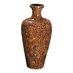 Howard Elliott - Acacia Wood Mosaic Vase - This small bell shaped vase features a mosaic of acacia wood discs finished in a matte sienna bro...