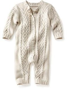 Cable-Knit Footless One-Piece for Baby