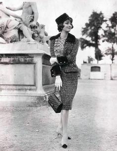 Marie-Helene Arnaud wearing Chanel, 1950s.