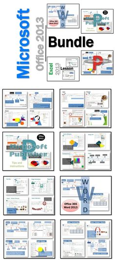 1. Word 2. Excel 3. Publisher 3. Publisher Activities 5. PowerPoint  These lessons contain instructions, screen shots and text bubbles to teach students how to use the software programs in Microsoft Office 2013.