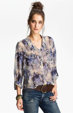 Free People Feather Print Chiffon Shirt available at #Nordstrom