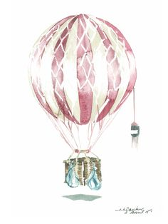 Watercolour Hot Air Balloon Print
