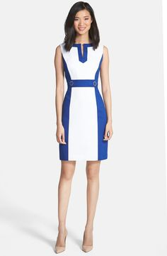 Colorblock Cotton Sheath Dress (Petite)