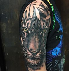 Realistic Tiger with Bamboo Leaves in Black and Gray Mens Tiger Tattoo, White Tiger Tattoo, Black And Grey Tattoos, Lion Tattoo Sleeves, Best Sleeve Tattoos, Dove Tattoos, Dream Tattoos, Animal Tattoos For Men, Tattoos For Guys