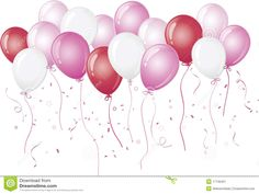 Pink Balloons Floating Against White Royalty Free Stock ...