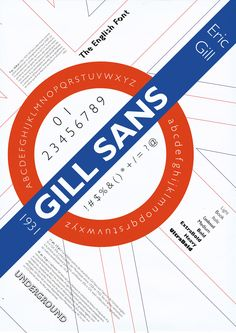 Eric Gill : Fonte tipográfica Gill Sans. Cartaz de Clement Thorez