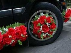 ,Never thought of decorating the tires also. This is adorable. Wedding Car Decorations, Flower Decorations, Purple Wedding, Wedding Flowers, Bridal Car, Wedding Chairs, Garden Furniture, Floral Wreath, Instagram Posts