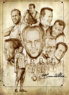 Bruce willis by NachoCastro on DeviantArt Bruce Willis, Cinema Tv, Cinema Movies, Celebrity Caricatures, Celebrity Drawings, Star Illustration, Illustration Pictures, Christopher Reeve, Movie Poster Art