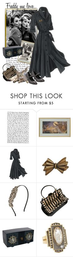 """1940's"" by danileigh ❤ liked on Polyvore featuring J. Peterman, Johnny Loves Rosie, Lulu Guinness, Mariana by GOLC, Moritz Glik, vintage inspired and 1940"