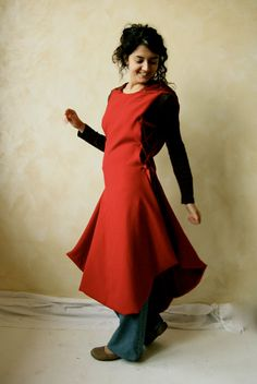 Red Hooded Cape Red coat Medieval Tunic dress Winter by LoreTree
