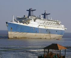 SS BLUE LADY (ex FRANCE, NORWAY) at Alang, January 21, 2008. Photo copyright P.K. Productions 2008.