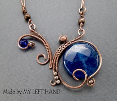 Copper wire wrapped pendant with jade 20 mm coin, glass bead and copper beads. Chain are made of solid copper.