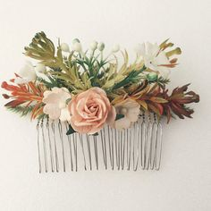 Floral hair comb flower comb Bridal comb  by FloweryTaleThailand