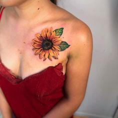Colorful Sunflower Tattoo, Sunflower Tattoo Shoulder, Sunflower Tattoos, Watercolor Sunflower Tattoo, Flower Tattoos On Shoulder, Watercolor Tattoo, Stone Tattoo, Disney Tattoos, Foot Tattoos