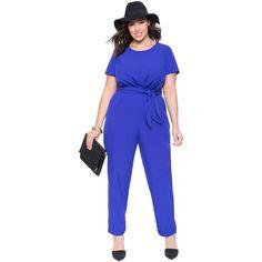 ELOQUII Tie Waist Jumpsuit ($35) ❤ liked on Polyvore featuring jumpsuits, jumpsuits & rompers, blue jumpsuit, blue jump suit, jump suit and tie belt