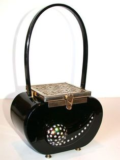 Trendy Women's Purses :   Magnificent vintage Tyrolean bakelite handbag. Great shape with filigree lid and very beautiful rhinestone trim on the front.    - #Bags  https://fashioninspire.net/accessories/bags/womens-purses-magnificent-vintage-tyrolean-bakelite-handbag-great-shape-with-filigree-lid-and/