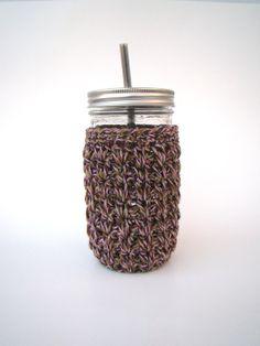 24 oz Mason Jar cozy Crochet jar sleeve Canning Jar by HookMadness, $9.00