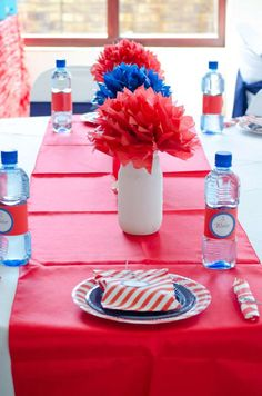 Table decorations at a nautical baby shower party! See more party planning ideas at CatchMyParty.com!