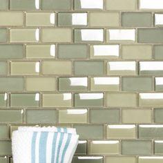 Abolos Free Flow x Glass Brick Mosaic Wall Tile Color: Spa Green Stone Mosaic Tile, Mosaic Wall Tiles, Mosaic Glass, Cottage Kitchen Tiles, Marble Subway Tiles, Spa, Glass Brick, Mosaic Bathroom, Glass Installation
