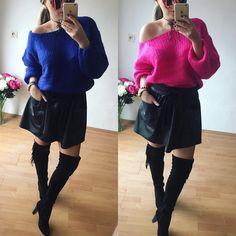 >pletené svetre< parížska modrá alebo fuchsia ? Obe farby sú nádherne  veľ.UNI (voľnejší strih) v cene 1990 >Koženková sukňa< s vačkami jej materiál je príjemný je prispôsobiteľná  nakoľko má v páse gumu čiže je vhodná od XS-po väčšie L V cene 1490 Všetko IHNEĎ K ODBERU nájdeš aj na www.tvojstyl.fashion