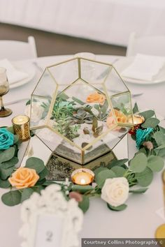 Geometric wedding centerpiece with succulents, candles and eucalyptus leaves Succulent Centerpieces, Wedding Centerpieces, Wedding Themes, Wedding Photos, Bohemian Summer, Geometric Wedding, Eucalyptus Leaves, Summer Wedding, North Carolina