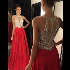 Sexy Evening Prom Dresses Wedding Party Long Chiffon Pearls Bridesmaid Prom Gown #Unbranded