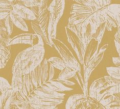 Rebecca wallpaper from the Grandeco Myriad collection, shown here in ochre. A wonderful hand-drawn design that turns your wall in a tropical jungle with toucans. This is a two-tone printed wallpaper, to avoid turning your home into a jungle madness. Mustard Wallpaper, Botanical Wallpaper, Modern Wallpaper, Wallpaper Samples, Wallpaper Online, Print Wallpaper, Nature Wallpaper, Shabby Chic Tapete