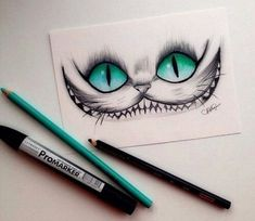 Love love love this Cheshire Cat (Alice in Wonderland) drawing. The eyes are amazing.: