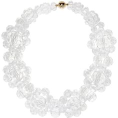 Simone Rocha Transparent Floral Beaded Choker ($360) ❤ liked on Polyvore featuring jewelry, necklaces, clear, handcrafted beaded necklaces, choker jewelry, beaded jewelry, handcrafted jewelry and beaded choker necklace