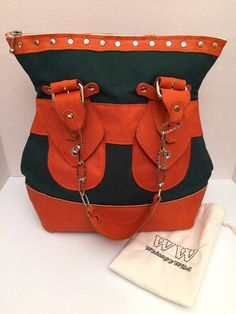 Large Tote in orange and green, Famu colors, canvas and leather purse, um colors, stylish purse. handmade