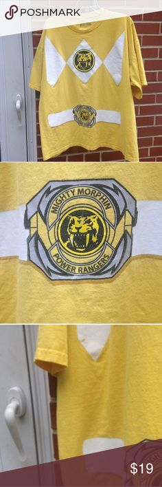 """Yellow POWER RANGERS tshirt POWER RANGERS yellow t shirt.  Super soft and good condition.  A couple of chips in paint but it looks like it was printed that way.  Approx. 28"""" long and 23"""" wide. Shirts"""