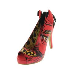 IRON FIST NEW Soul Stealer Red Graphic Slip On Platform Heels Shoes 8 BHFO #IronFist #PlatformHeels