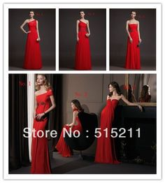 Mixed 6 Styles One Shoulder Red Chiffon Long Bridesmaid Dress For Bridal Party 2014 New Arrival Free Shipping