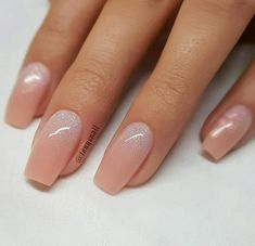 REPOST - - - - Peachy Nude with Glitter Ombre on tapered Square Nails - - - - Nail Design by Cute Acrylic Nails, Cute Nails, Pretty Nails, Glitter Nails, Sparkle Nails, Perfect Nails, Gorgeous Nails, Types Of Nails Shapes, Nails Types