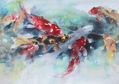 Fish - koi - by Lian Quan Zhen (b. China - ), USA. Watercolor
