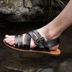 6085f5d8 2015 del verano nuevas sandalias de cuero de lujo de la marca Catwalk moda  casual para