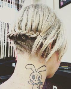 #blondie #powerpufftattoo #braided #shorthair